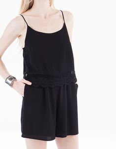 Short jumpsuit with crochet detail - CLOTHING - Stradivarius United Kingdom