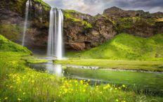 Spectacular Waterfall To Blue Sky Waterfalls And Nature Smart Waterfall Wallpaper Seljalandsfoss Waterfall Iceland Waterfalls