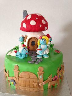 Smurf cake for twins' birthday