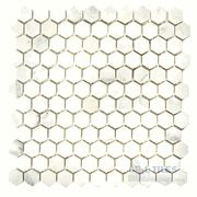 Stone Tiles by Diamond Tech Glass Tiles - Mosaic Hexagon in White Statuary Honed Mesh Mounted Sheets - ( DT-35968 )