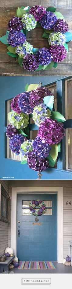 DIY Paper Hydrangea wreath. Free pattern and tutorial. For more freebies and design inspiration check out www.liagriffith.com