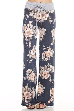 Floral print french terry wide casual pants with adjustable drawstring waistline.   Cece Pants by 12pm by Mon Ami. Clothing - Lingerie & Sleepwear - Sleepwear Minneapolis, Minnesota