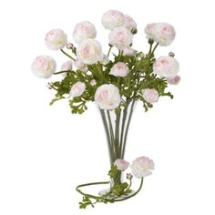 Nearly Natural Home Indoor Decorative Tabletop Fancy 23 Ranunculus Stem Set of 12 WhitePink * Click image to review more details.