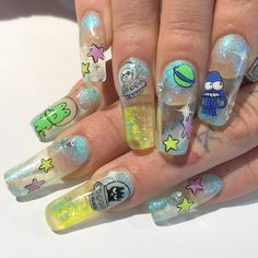 The Most Beautiful Coffin Acrylic nails Design for This Season - Page 6 of 20 - Nail Art Long Acrylic Nails, Acrylic Nail Art, Acrylic Nail Designs, Long Nails, Nail Art Designs, My Nails, Nails Design, Glitter Nails, Design Art