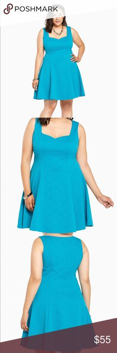 "➕NWT Torrid blue skater dress Retail $68.50+tax Caution: major curves ahead! This dress was made to love you with a va-va voom textured turquoise knit that's boosted by figure-flattering fluted seams. A sweetheart neckline is almost NSFW.   Model is 5'10"", size 1 Size 1 measures 38 3/4"" from shoulderPolyester/spandexWash cold, line dryImported plus size dress torrid Dresses"