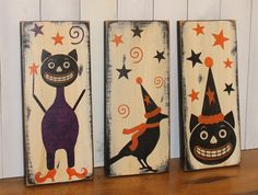 What a nice sign, especially if you like or collect vintage style Halloween. This listing is for all 3 signs.     First the wood is painted