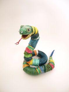 Playful Animal Sculptures Made of Salvaged Materials - My Modern Metropolis #Art #AnimalArt #Snake