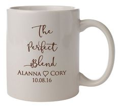 """Personalized Wedding Mugs """"The Perfect Blend"""" 72 Ceramic Coffee Mugs PERSONALIZED Wedding Favors Gifts Vitrified Ceramic Coffee Cocoa Bar by Factory21 on Etsy"""