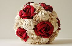 Fabric Wedding Bouquet, Weddings, Vintage Bridal Bouquet, Fabric Flower Bouquet,  Wedding Bouquet,  Red  Roses