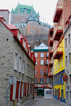 Old Quebec - brighter by jesstorr, via Flickr...I stayed in the hotel at the top of the hill on my honeymoon...chateau Frontineque