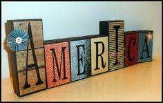 wood block craft for Memorial Day