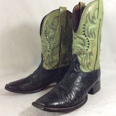 Vintage Ostrich 2-Tone Cowboy Western Boots by Nocona- GORGEOUS!