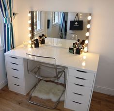 My Makeup Table . Alex Drawers from IKEA. Separate table top from IKEA. Bathroom Lights From IKEA & CHAIR FROM IKEA IKEA Drawer unit White: storage-furniture / drawer-units-storage-cabinets Drawer stops prevent the drawers from being pulled out too far. Teenage Bedroom Ideas Ikea, Room Ideas Bedroom, Ikea Teen Bedroom, Bedroom Themes, Bedroom Designs, Bedroom Apartment, Bedroom Decor Glam, Bedroom Table, Cosy Bedroom
