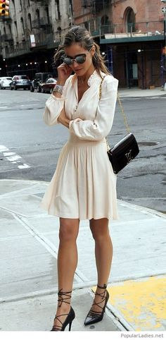 Amazing white dress with black accessories for office day