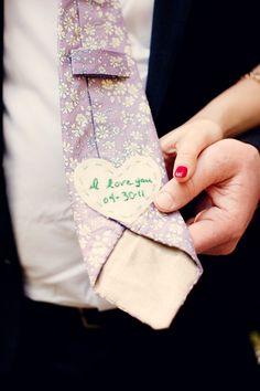 "Embroidered Heart with ""I Love You"" and wedding date on back of groom's tie. From Virginia & Bill's wedding featured on SMP, photo by Janae Shields Photography"