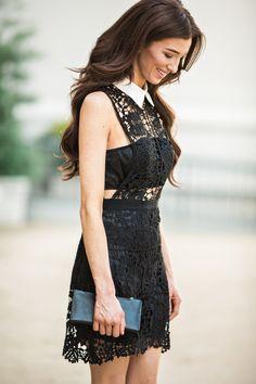 Black Collared Crochet Dress, Black and White Dresses, LBD, Crochet Dresses for Women
