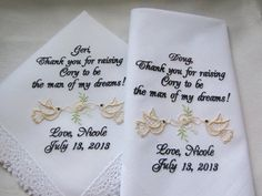 Wedding Dove Handkerchiefs Personalized From Bride to Mother and Father of the Groom