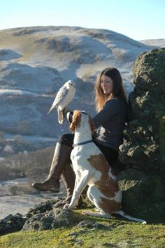 Layla Bennett with her falcon, Monty, and English pointer, Herbie.