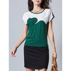 Color-block Casual Cotton Short Sleeve Blouse (2.665 RUB) ❤ liked on Polyvore featuring tops, blouses, short sleeve tops, cotton summer tops, color block tops, summer tops and green blouse