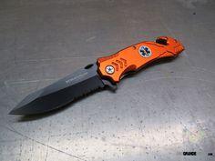 Boker Magnum EMS Rescue Folding Knife, 3.4 Inch Black ComboEdge, Orange Aluminum Handles, 01LL472   OsoGrandeKnives