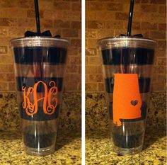 Giant Auburn Striped Cups-Tailgating - Monogrammed GIfts - Great Teachers Gift - Monogrammed Cup-Personalized Cup on Etsy, $22.00