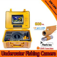 (1 set)30M cable Underwater Fishing camera DVR 7 Inch color Display Monitor 12 IR white LED Fish Finder Diving Camera Free DHL