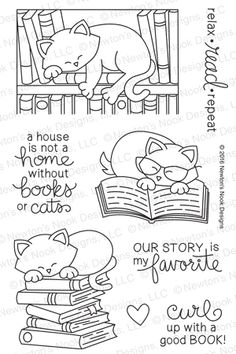 Newton's Book Club Stamp Set by Newton's Nook Designs