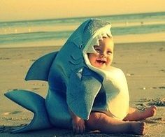 Shark Romper Baby Costume - The perfect combination of adorable and fearsome! Your little one will add rows of shark chompers to the baby teeth with the headpiece of this baby Halloween costume, which also includes a jumpsuit and a detachable dorsal fin. So Cute Baby, Baby Kind, Cute Kids, Lil Baby, Baby Boy, 3 Kids, Baby Sister, Brother Sister, Kids Girls