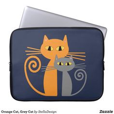 Cute Orange Cat, Grey Cat Laptop Sleeve - Option to customise from the product page.