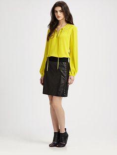 Diane von Furstenberg - Marlian Silk Top - Saks.com  Round neck yoke with applied bias trim in stripes.  Bishop sleeves.