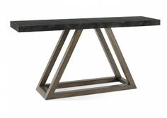 Triangle Console Table with Black Vellum Top With Firmdale Grey Oak Base 71x18x34