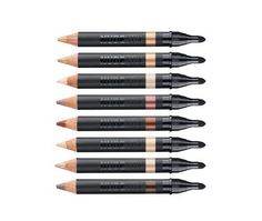 There are eight lip/cheek pencils and eight concealer pencils, eight brilliant eye liner/shadow/highlighter combo pencils, eight lip pens, four shadow pencils, and one mascara, which is the only thing that doesn't come in pencil/pen form.  Read more here!    Nudestix ($24)