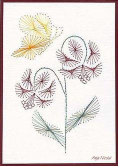 The Latest Trend in Embroidery – Embroidery on Paper - Embroidery Patterns Paper Embroidery Tutorial, Embroidery Cards, Hand Embroidery, Machine Embroidery, Stitching On Paper, Quilt Stitching, String Crafts, Paper Crafts, Sewing Cards