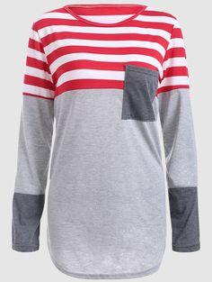 604be898c Asymmetric Color Block Striped Plus Size T-Shirt. Top FashionFashion ...