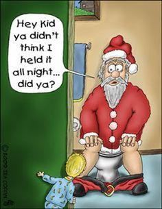 Funny Father Christmas Cartoons Santa Toilet