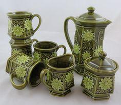 Vintage Coffee/Tea Set Avocado Green by VintageCocobytheLake, $72.95