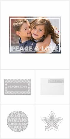 Peace and Love Holiday collection features a photo card with white frame and text overlay that reads Peace & Love with smaller text that reads Merry Christmas with a gray and white pattern design back with an area you can add your personal message and name. Also included in this modern, contemporary gray and white holiday suite is matching postage, stickers, and wraparound return address labels.