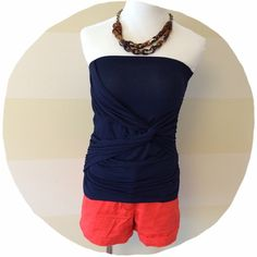 """Lush Tube Top Cute navy blue tube top with a """"knot"""" detail, draped layers, and rouching. Can be dressed up or down. Very cute and in perfect condition! Lush brand. Size small. Lush Tops Tank Tops"""