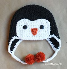 Crochet Penguin Hat Pattern - instructions for sizes infant through adult