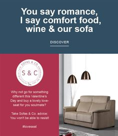 You say romance, I say comfort food, wine & our sofa!  #sofasandco #loveseat  #handmadeforyou #valentinesday #soulmate #bestprices #quality