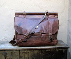 Vintage Large Worn In Chocolate Brown Satchel by Trustfund21, $68.00