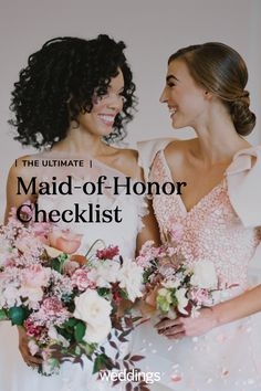 It's quite a privilege to be named the bride's right-hand woman—which is why we suggest researching your job before wedding planning is in full swing. Before Wedding, Our Wedding, Dream Wedding, Friend Wedding, Wedding Blog, Lace Wedding, Made Of Honor, Wedding Planning Timeline, Maid Of Honour Dresses