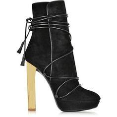 Emilio Pucci Black Suede Platform Boots