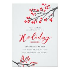 Branches and Berries Holiday Dinner Invitation - Xmas ChristmasEve Christmas Eve Christmas merry xmas family kids gifts holidays Santa