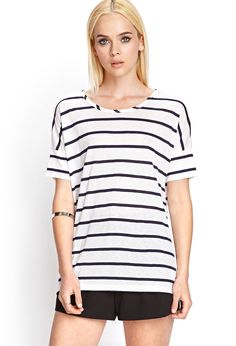 Striped Boat neck Tee | FOREVER21 - 2000121090