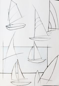 How to draw a sailboat Basic Drawing, Drawing Skills, Drawing Lessons, Drawing Techniques, Art Lessons, Drawing Step, Drawing Reference, Sailboat Drawing, Sailboat Art