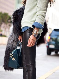 Fall. Leather and denim.