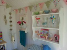 My beautiful hut Beach Hut Shed, Beach Hut Decor, Beach Huts, Beach Hut Interior, Summer House Interiors, Allotment Ideas, Personalised Bunting, Summer Houses, Shabby Chic Interiors
