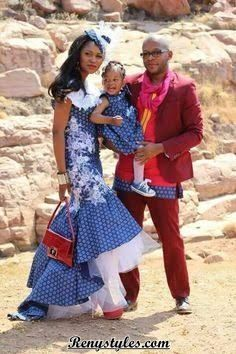 The shweshwe fashion the latest trends from south Africa - Reny styles African Print Dresses, African Fashion Dresses, African Dress, African Prints, African Outfits, African Clothes, South African Wedding Dress, African Traditional Wedding Dress, African Weddings