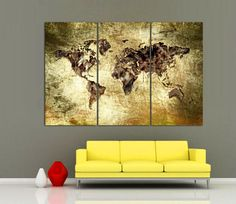 Colorful paint world map 3 panel split canvas print triptych 15 3 panel split triptych art world map canvas print this print has a digital texturing effect dramatic color effect yellow and cream background colors gumiabroncs Image collections